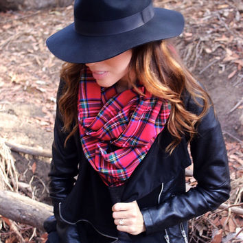 Red Plaid Scarf- Cozy Infinity Scarf in Red Stewart Plaid Flannel