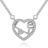 925 Sterling Silver CZ Crystal Heart Necklace