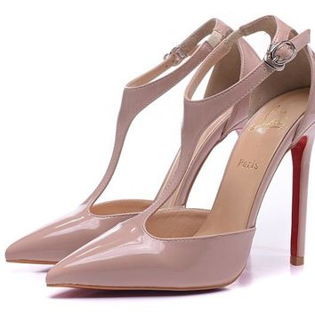 Christian Louboutin Nude Tip T-strap Sandals High Heels 100mm