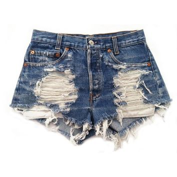 High Waisted Levi's Distressed Cut-Off Shorts Stone Dreamer Shredded Vintage