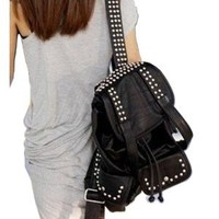 BLACK Synthetic Soft Leather Studded Backpack School Bag Great Look