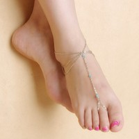 Jewelry Gift New Arrival Cute Ladies Shiny Sexy Stylish Yoga Tassels Chain Crystal Anklet [6768790215]