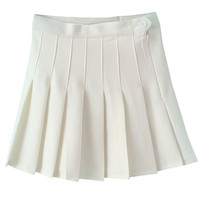 White Pleated Mini Skirt - Choies.com