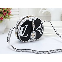 LV fashion hot selling lady's print matching color small round shoulder bag #5