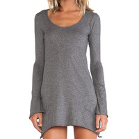 Bobi Jersey Asymmetrical Dress in Gray