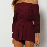 Summer Trendy Burgundy Off The Shoulder Lace Embellished Jumpsuit