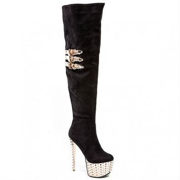 Club High Heel Over the Knee Stretch Spiked Boots