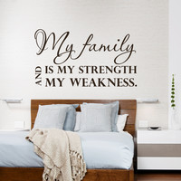 Wall Decal Quote My Family Is My Strength Design Wall Decals Bedroom Living Room Dorm Kids Window Vinyl Stickers Home Decor 3961