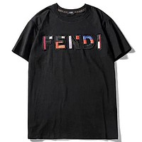 Fendi 2019 new colorful embroidery letters casual short-sleeved T-shirt Black