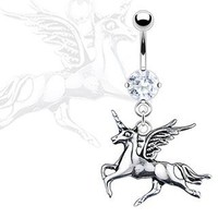 Belly Button Ring Navel Unicorn Horse Body Jewelry 14 Gauge
