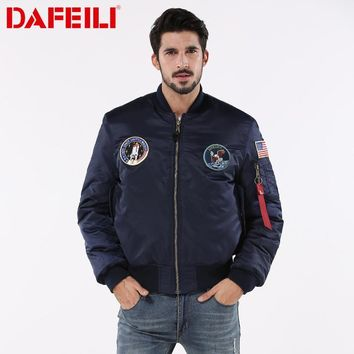 Trendy 2018 Thick MA-1 winter hip hop streetwear bomber flight ma-1 waterproof air force american flag college couple jacket for men AT_94_13
