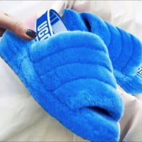 UGG Winter High Quality Trending Women Casual Fluff Yeah Slippers Shoes Blue