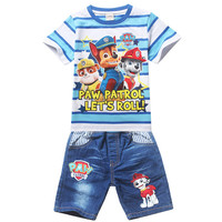 Paw Dog Patrol Children Girls Boys Cartoon sets Costume Clothing set for Kids Patrol Clothes Girls shorts T-shirts+Jeans pants