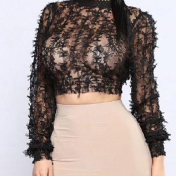 lace sheer blouse