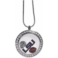 "LSU Tigers Locket Necklace Floating Charms Silver Tone 18"" Snake Chain"