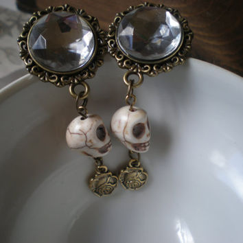 Gothic ,Victorian, skull earrings/ gauges/ plugs Day of the Dead/ Myan