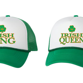 Irish king queen st patricks day dual color trucker hat