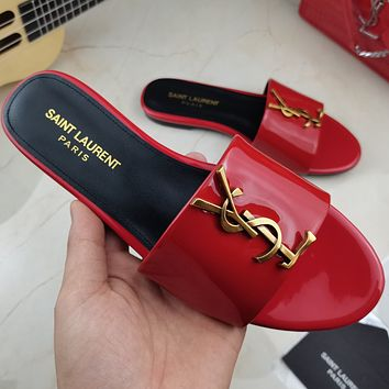 YSL Saint Laurent new large logo letters ladies sandals beach slippers Shoes Red