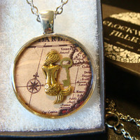 Mermaid With Golden Key over Map  Steampunk Pendant Necklace (1961)