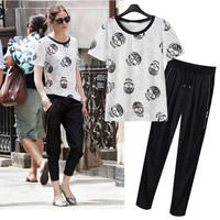 Black and White Skull Print T-Shirt and Side Zip Harem Pants