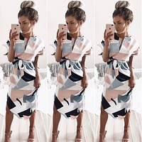 Women Fashion Multicolor Geometric Print V-Neck Short Sleeve Dress