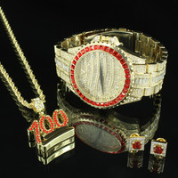 Men Hip Hop Iced Out Gold Tone Watch 100 Emoji Pendant Necklace Earrings Combo