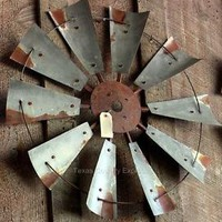 "30"" Rustic Windmill Head Fan Western Ranch Barn Farmhouse Wall Decor"