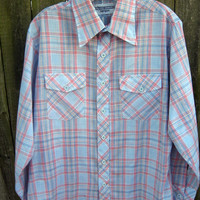 Mens Shirt Cowboy Western Plaid L vintage 1970s RUGGED COUNTRY by Campus Pastel Light Blue Red White