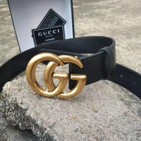GUCCI classic simple versatile jeans smooth buckle belt