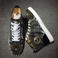 DCCK Cl Christian Louboutin Rhinestone Mid Strass Style #1913 Sneakers Fashion Shoes