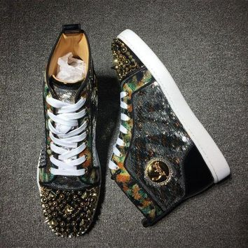 DCCK2 Cl Christian Louboutin Rhinestone Mid Strass Style #1913 Sneakers Fashion Shoes