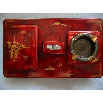 Chinoiserie Red Lacquered Figurative Dutch Style Musical Tobacciana Set