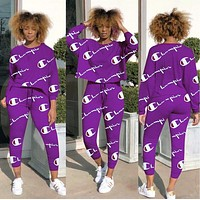 Champion Hot Sale Women Long Sleeve Round Collar Sweater Top Pants Two-Piece Purple