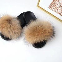 DCCK3SY Raccoon Fur Sandals Furry Flip Flips Women Fashion Slippers Sandals Brown genuine real fluffy Pompoms Women Shoes