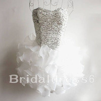 Sequins White Sweetheart Strapless Ball Gown Short Bridesmaid Celebrity Cocktail Dress, Organza Formal Evening Party Prom Homecoming Dress