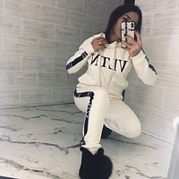 Valentino VLTN Casual Print Hoodie Top Sweater Pants Trousers Set Two-piece Rice white