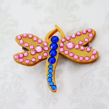 Coraline Dragonfly Barrette Gold Pink And From Jegascreations On