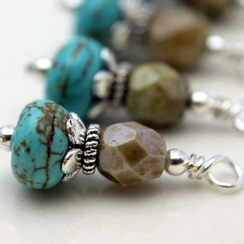 Turquoise Rondelle and Czech with Silver Bead Dangle Charm Drop Set
