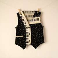 Vintage. 80's Piano Key Vest. Black and Ivory Button Up Vest. V Neckline. Musical. Cinched. Indie. Retro. Hipster. Small. S.
