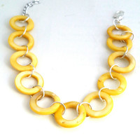 Mother of Pearl Bracelet in Bright Yellow, Summer Jewelry for Women, 7.5 inch lightweight link bangle, Ready to Ship