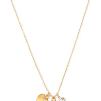 FOREVER 21 Rhinestone & Heart Charm Necklace Gold One