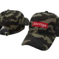 Camouflage Savage Embroidered Adjustable Cotton Baseball Cap Hat