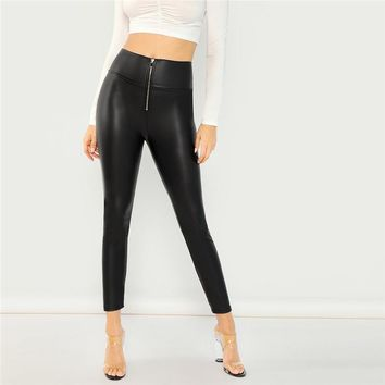 Black Modern Lady Minimalist Casual Exposed Zip Front Skinny Solid Leggings New Sexy Women Pants Trousers