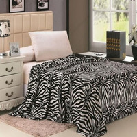 Animal Print Ultra Plush Black & White Zebra King Size Microplush Blanket