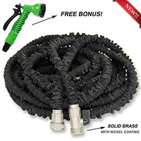 2016 NEWEST 25ft Heavy Duty Expandable Garden Hose - Designed for Garden Watering, Car/Pet Washing - Premium Exterior, Solid Brass Ends, High Pressure Resistant, 7 Spraying Patterns