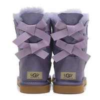 UGG Fashion Women Fur Bow Wool Snow Boots In Tube Boots Shoes F