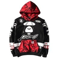 BAPE AAPE Stylish Women Men Loose Print Camouflage Contrast Color Long Sleeve Hooded Sweater Top Sweatshirt Red I13730-1