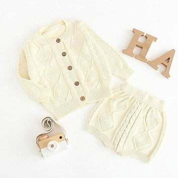 Knitting Baby Clothing Set Classical Lines Sweater Cardigan Shorts Newborns Suits  Spring Infant Boys Girls Clothes