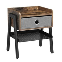 VASAGLE Industrial Nightstand, End Table with Metal Shelf, Side Table for Small Spaces, Wood Look Accent Furniture with Metal Frame ULET64X