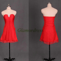 short red chiffon prom dresses on sale sweetheart v-neck sleeveless prom gowns with rhinestones cheap dress for homecoming party